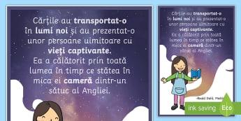 Cărțile au transportat-o - Planșă motivațională - motivație, dezvoltare personală, română, pozitiv, gândire pozitivă, motivația învățării,