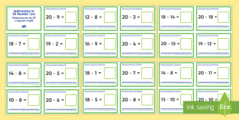 Subtraction up to 20 with a Number Line Challenge Cards English/Polish - independent, practise, practice, starter, plenary