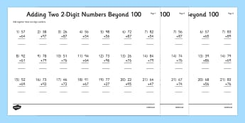 Adding Two 2 Digit Numbers Beyond 100 Activity Sheet - column, digit, number, 100, adding, calculate, 2014, curriculum, maths, numeracy, worksheet