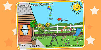 Summer Scene Word Mat - seasons, weather, keywords, visual aid