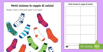 Accoppia i calzini Attività - accoppia, i, calzini, uguali, memory, colorati, attivita, materiale, scolastico, italiano, italian