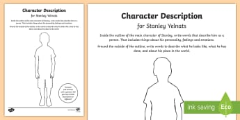 Character Description for Stanley Activity Sheet - New Zealand Chapter Chat, Chapter Chat NZ, Chapter Chat, Holes, Stanley, Character Description