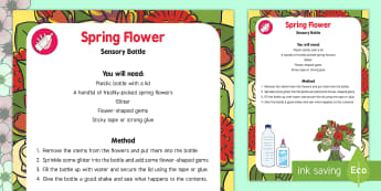 Spring Flower Sensory Bottle - spring, flowers, eyfs, sensory bottle, sensory, bottle
