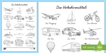 Verkehrsmittel Bilderlexikon zum Anmalen - Bilderlexikon, Verkehrsmittel, Transport, DAF, DAZ, Deutsch,German