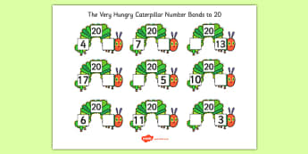 Number Bonds to 20 to Support Teaching on The Very Hungry Caterpillar - caterpillar