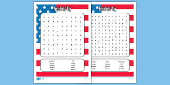 Presidents' Day Word Search - usa, presidents day, celebration, federal, word search