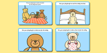 Teddy Bear Playdough Mats - teddy bear, playdough mats, playdough, mats