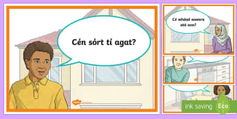 Questions at Home Display Posters Gaeilge - Sa Bhaile, Ceisteanna, questions, key words