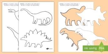 Plantilla de dinosaurios para recortar - juego simbólico, jugar, imaginación, dino, dinosaurio, juego de rol,Spanish