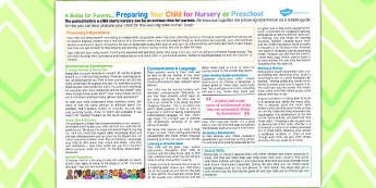 Preparing Your Child For Nursery Preschool Guide Parents Leaflet