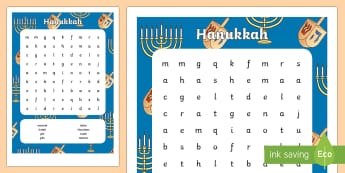 Hanukkah Word Search - Hanukkah, Jew, Judaism, celebration, light, festival