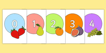Numbers 0-20 on Fruit - Fruit, topic,  foundation stage numeracy, Number recognition, Number flashcards, counting, number frieze, Display numbers, number posters, apple, orange, satsuma, pear, banana, tangerine, pineapple, grapes