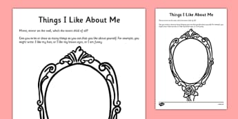 Things I Like About Me Self-Esteem Worksheet - CfE,Early Level, SHANARRI, health, self esteem, confidence building