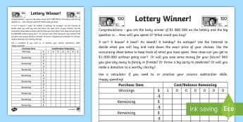 Lottery Winner Accounting Activity Sheet - Maths, year 5, calculating, calculator, addition, subtraction, add, take away, minus, plus, problem