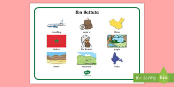 ibn battuta themed Word Mat - PlanIt KS1 Explorers Lesson 2 Who Was Ibn Battuta Lesson Pack, exploreres, fewer