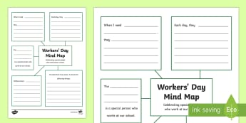South Africa Workers' Day Mind Map Activity Sheet  - South Africa Worker's Day 1st May, mind map, activity sheet, people who work at school,