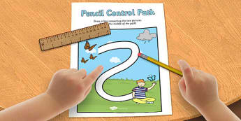 Spring Pencil Control Path Worksheet - spring, control path