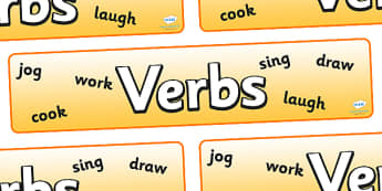 Verbs Display Banner - verbs display banner, verbs, verb, display, banner, sign, poster, type, English, grammar, word, words