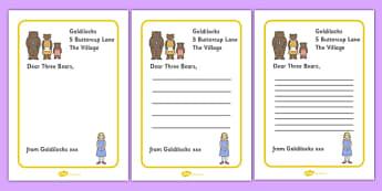 Goldilocks to the Three Bears Letter Writing Frames - Goldilocks, letter, activity, writing aid, traditional tales, tale, fairy tale, three bears, porridge, cottage, beds