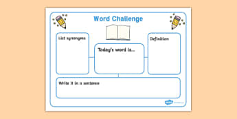 Word Challenge Worksheets - Word Challenge Worksheets, word challenge, words, word, challenge, worksheets, worksheet, synonyms, list, today's word, definition, write a sentence, sentence
