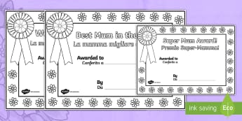Mother's Day Certificates (Colouring) English/Italian - Mother's Day Certificates (Colouring) - Mother's day card, mother's day cards, mother's day acti