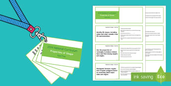 Lanyard Sized Year Five Properties of Shape Objectives Cards - year 5, y5, year five, objectives, maths, mathematics, properties of shape, angles, obtuse angles, a