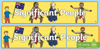 Significant People Display Banner - Classroom, History, Famous, important, poster, display,Australia