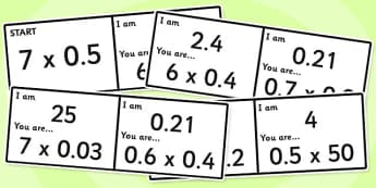 Multiplying and Dividing Decimals Loop Cards - multiply, divide