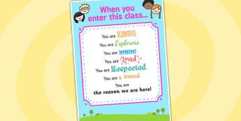 When You Enter This Class Poster - when you enter this class, poster, display poster, poster for display, classroom display, classroom poster, theme poster