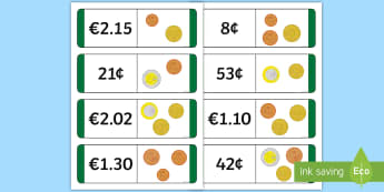 Lúbchártaí Euro Loop Cards Gaeilge - Maths, Mata, Matamaitic, Mathematics, Gaelscoil, Irish-Medium Schools, Cluichí Mata, Maths Games, G