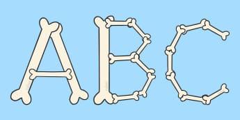 A-Z Bone Display Lettering - A-Z bone display lettering, bones, bone, A-Z, A4, display, Alphabet frieze, Display letters, Letter posters, A-Z letters, Alphabet flashcards
