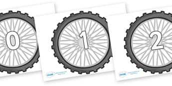 Numbers 0-100 on Bike Wheels - 0-100, foundation stage numeracy, Number recognition, Number flashcards, counting, number frieze, Display numbers, number posters