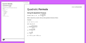 Student Led Practice Sheet Using the Quadratic Formula - KS3, KS4, maths, GCSE, revision, practise, algebra, quadratic formula, solving