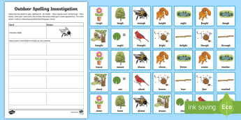 Outdoor Spelling Investigation Activity Pack - CfE Outdoor Learning, nature, forest, woodland, playground, spelling, sentence building, grammar.,Sc
