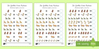 Der Grüffelo Arbeitsblatt: Erstes Rechnen (Addieren) - Grüffelo, Addieren, Erstes Rechnen, Plus, German