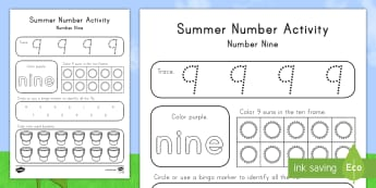Summer Number Nine Activity Sheet - Summer, summer season, first day of summer, summer vacation, summertime, number recognition, number