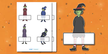 Editable Halloween Witches Self Registration - Halloween, pumpkin, witch, bat, scary, black cat, Self registration, register, editable, labels, registration, child name label, printable labels, mummy, grave stone, cauldron, broomstick, haunted house,