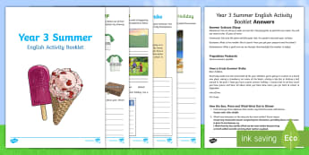 Year 3 Summer English Activity Booklet - y3, revision, holiday, reading, writing, spag, sentences, homework, home learning