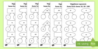 Karty Suma liczb równa 10 20 i 100 Wyzwania matematyczne - dodawanie, odejmowanie, suma, liczb, liczby, liczba, matematyka, oblicz, liczenie, zadania, wyzwania