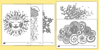 Weather-Themed Mindfulness Colouring Sheets - weather, mindfulness, colouring sheets, colour, de-stress, calm down