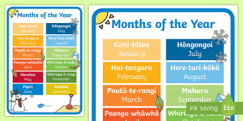 NZ Months of the Year Display Poster Te Reo Maori/English - New Zealand Back to School, seasons, nz seasons, months of the year, display, poster