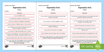 CfE Expressive Arts (Drama) Second Level Child Friendly Tracking-Scottish - Child Friendly Tracking CfE, tracker, EXA, curriculum for excellence, 2nd level, progression, I can,