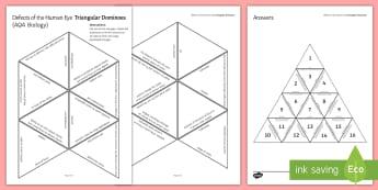 Defects of the Human Eye (AQA Biology) Tarsia Triangular Dominoes - Tarsia, gsce, biology, human eye, sense organ, response, senses, seeing, the eye, eye, vision, myopi