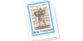Miss Trunchbull Character Poster to Support Teaching on Matilda - Matilda , Display, Matilda, Story Books Role Play, Roald Dahl, Pr