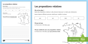 Add a Relative Clause Activity Sheet French - French, grammar, relative, clauses, pronouns, pronoms, relatifs, propositions, worksheet,French