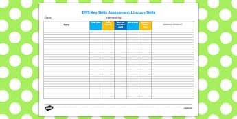 EYFS Key Skills Assessment Literacy Skills - eyfs, key skills, assessment