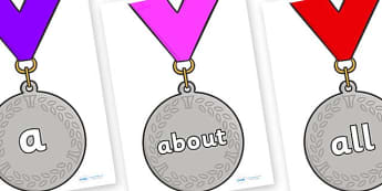100 High Frequency Words on Silver Medals - High frequency words, hfw, DfES Letters and Sounds, Letters and Sounds, display words