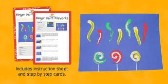 Finger Paint Fireworks Craft Instructions - instructions, finger paint, firewords, craft