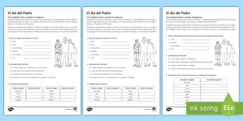 Father's Day Reading Comprehension Activity 1 Spanish - KS3, Spanish, Father, day, festivities, events, culture, dia, padre, celebrations, reading, comprehe