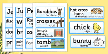 Easter Word Cards Romanian Translation - romanian, easter, cards
